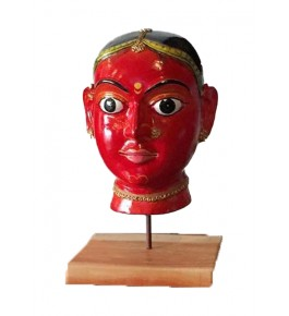 Handmade Wooden Beautiful Red Face Statue Kinhal Toys for Decoration