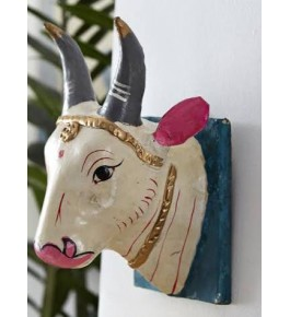 Handicrafted Beautiful White Wooden Cow Kinhal Toys for Decoration