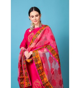 Traditional Punjab Phulkari Beautiful Handmade Patchwork Cotton Pink Kurti With Net Dupatta