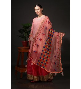 Traditional Punjab Phulkari Beautiful Handmade Patchwork Cotton Peach Kurti & Dupatta With Red Skirt For Women