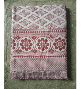 Traditional Handloom Solapur Chaddar Beautiful Red & White Colour Floral Print Cotton Bed Sheet For Home Furnishing