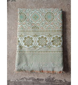 Traditional Handloom Solapur Chaddar Beautiful Pista Colour Cotton Bed Sheet For Home Furnishing