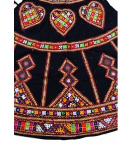 Handicraft Kutch Embroidered Designer Antique Mirror Work Chaniya Choli In Black Colour