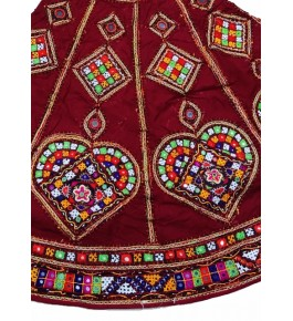 Handicraft Kutch Embroidered Designer Antique Mirror Work Chaniya Choli In Red Colour