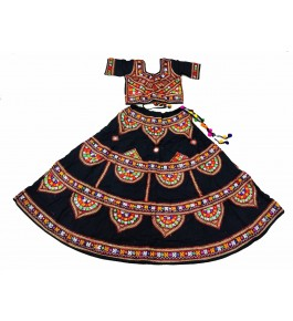 Handicraft Kutch Embroidered Designer Beautiful Mirror Work Chaniya Choli In Multi Colour For Girls