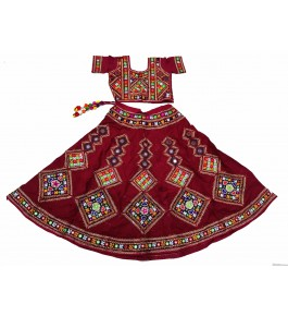 Handicraft Kutch Embroidered Designer Mirror Work Chaniya Choli In Beautiful Red Colour For Girls
