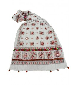 Handwoven Kutch Embroidered Designer Mirror Work Dupatta In Beautiful White Colour For Daily And Casual Wear