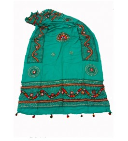 Handwoven Kutch Embroidered Designer Mirror Work Dupatta In Beautiful Green Colour For Daily Wear