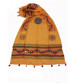 Handwoven Kutch Embroidered Designer Mirror Work Dupatta In Beautiful Yellow Colour For Daily Wear