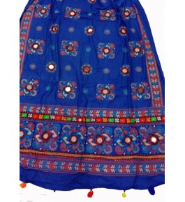 Handwoven Kutch Embroidered Designer Mirror Work Dupatta In Pleasant Blue Colour For Daily Wear