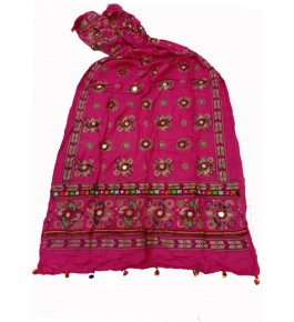 Handwoven Kutch Embroidered Designer Mirror Work Dupatta In Pleasant Pink Colour For Daily Wear