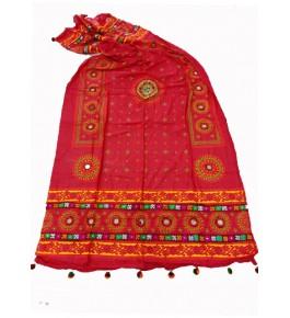 Handwoven Kutch Embroidered Designer Mirror Work Dupatta In Orange Colour