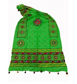 Handwoven Kutch Embroidered Designer Mirror Work Dupatta In Light Green Colour