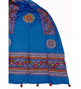 Handwoven Kutch Embroidered Designer Mirror Work Dupatta In Dark Blue Colour