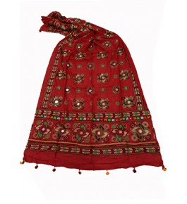 Handwoven Kutch Embroidered Designer Mirror Work Dupatta In Dark Red Colour