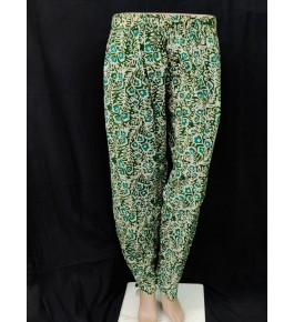 Handwoven Kutch Designer Embroidered Batik Pant In Green Colour