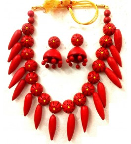 Bankura Panchmora Terracotta Crafts Red Necklace & Jhumki Set For Women