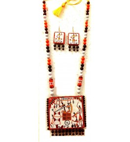 Bankura Panchmora Terracotta Crafts Necklace & Earring Set In White