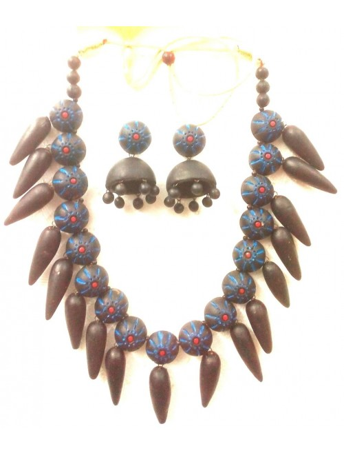 Bankura Panchmora Terracotta Crafts Grey Necklace & Jhumki Set For Women