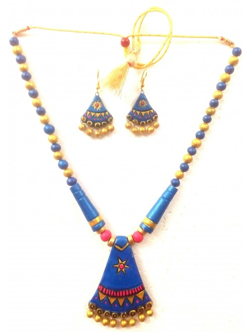 Bankura Panchmora Terracotta Crafts Blue With Golden Beads Necklace & Earring Set For Women