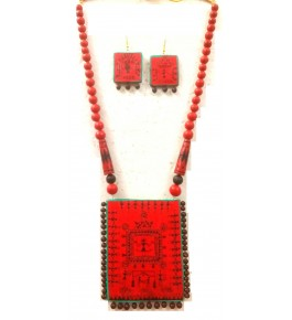 Bankura Panchmora Terracotta Crafts Necklace & Earring Set For Women