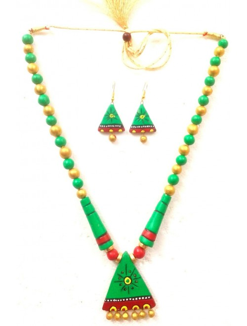 Bankura Panchmora Terracotta Crafts Green Beads Necklace & Earring Set For Women
