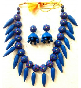 Bankura Panchmora Terracotta Crafts Blue Necklace & Jhumki Set For Women