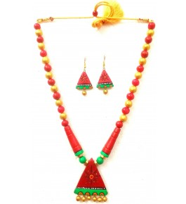 Bankura Panchmora Terracotta Crafts Beads Necklace & Earring Set For Women