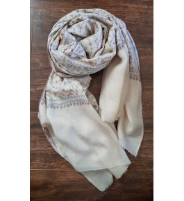 Beautiful Embroidered White Pashmina Scarf For Women