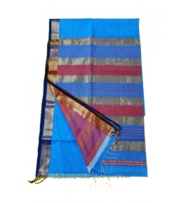 Maheshwar Cotton Silk Turquoise Saree For Women By Rang Boutique