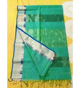 Cotton & Silk Green Maheshwar Saree By Rang Buitiq