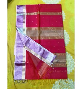 Cotton & Silk Red Maheshwar Saree By Rang Buitiq