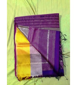 Cotton & Silk Purple Maheshwar Saree By Rang Buitiq