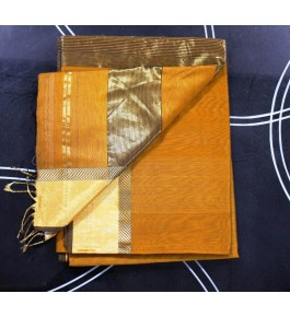 Maheshwar Cotton Silk Orange Saree For Women By Rang Boutique