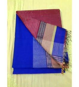 Maheshwar Cotton Silk Blue Saree By Rang Boutique