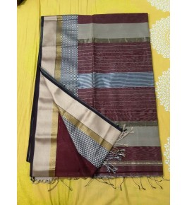 Cotton & Silk Brown Maheshwar Saree By Rang Buitiq