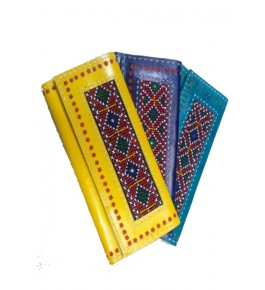 Traditional Handmade Kutch Embroidery Stylish Foldover Leather Purse for Women (Set of 4 bags)
