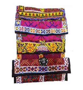 Traditional Handmade Kutch Embroidery Stylish Foldover Purse for Women (Set of 4 bags)