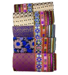 Traditional Handmade Kutch Embroidery Stylish  Foldover Sling Purse for Women (Set of 4 bags)