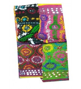 Traditional Handmade Kutch Embroidery Cotton Dupatta for Women (Set of 4)