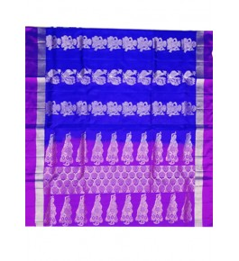 Brightful Purple & Navy Blue Coloured Border Kovai Kora Cotton Sarees for Women