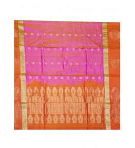Brightful Orange & Pink Coloured Border Kovai Kora Cotton Sarees for Women