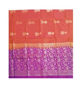 Brightful Orange & Purple Coloured Border Kovai Kora Cotton Sarees for Women