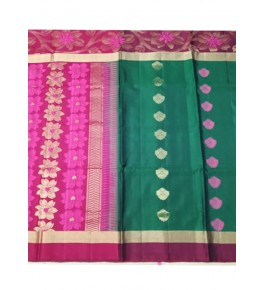 Floral Designer Pink & Green Coloured Border Kovai Kora Cotton Sarees for Women