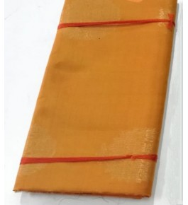 Gold Colour Plain Pattern Kovai Kora Cotton Sarees for Women