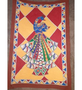 Handmade Beautiful Designed Peacock Pagdi By Madhubani Painting In MultiColour