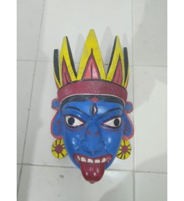 Traditional Hand Carved Gomira Wooden Mask of Kushmandi  Open Mouth Face for Home Decor
