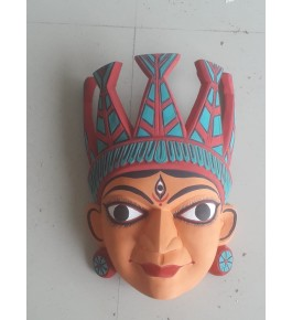 Hand Carved Gomira Wooden Mask of Kushmandi Face for Home Decor