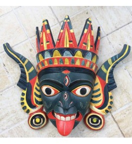 """18"""" Open Mouth Devil Crafted Gomira Wooden Mask of Kushmandi for Home Decor"""