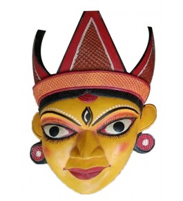 Colourful Hand Carved Gomira Wooden Mask of Kushmandi Face with Crown for Home Decor